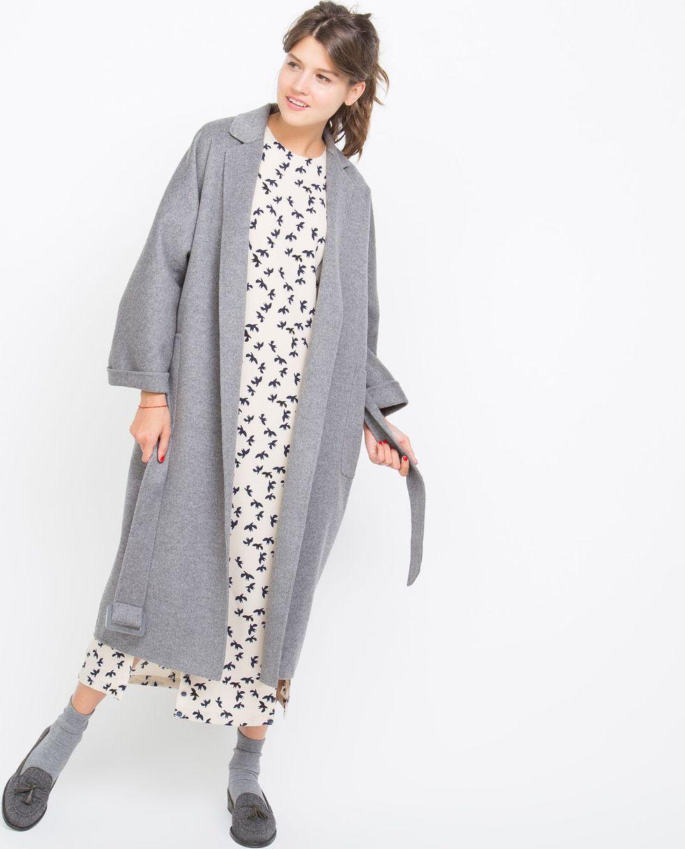 12Storeez Пальто-халат (серое) пальто
