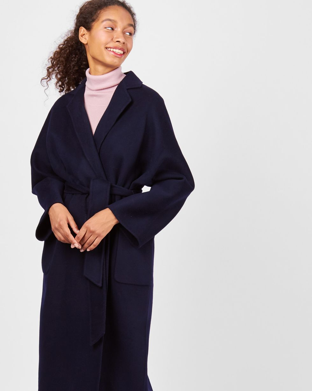 12Storeez Пальто-халат (темно-синее) синее вязаные пальто для детей спицами