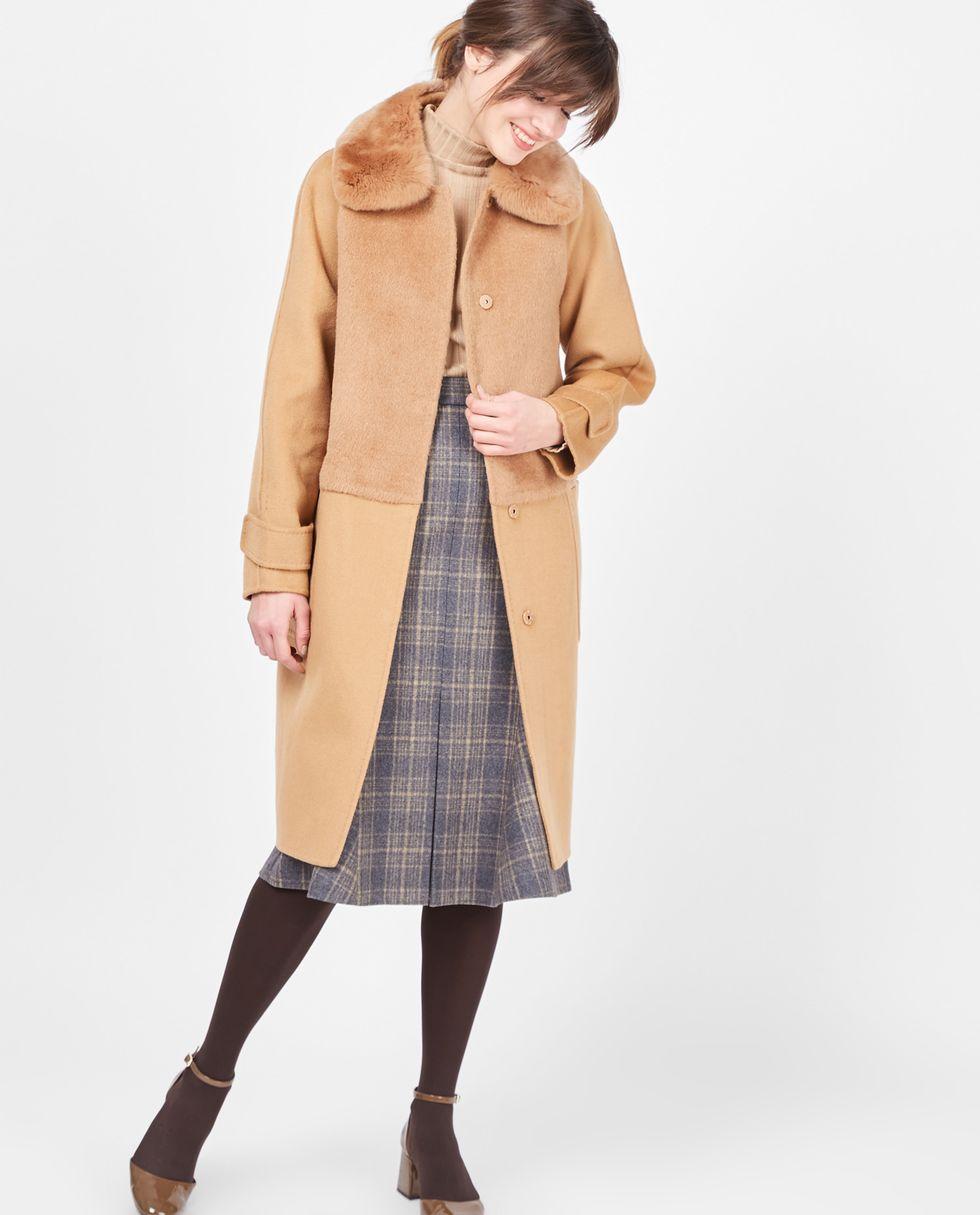 Пальто с меховым воротником (кэмел)