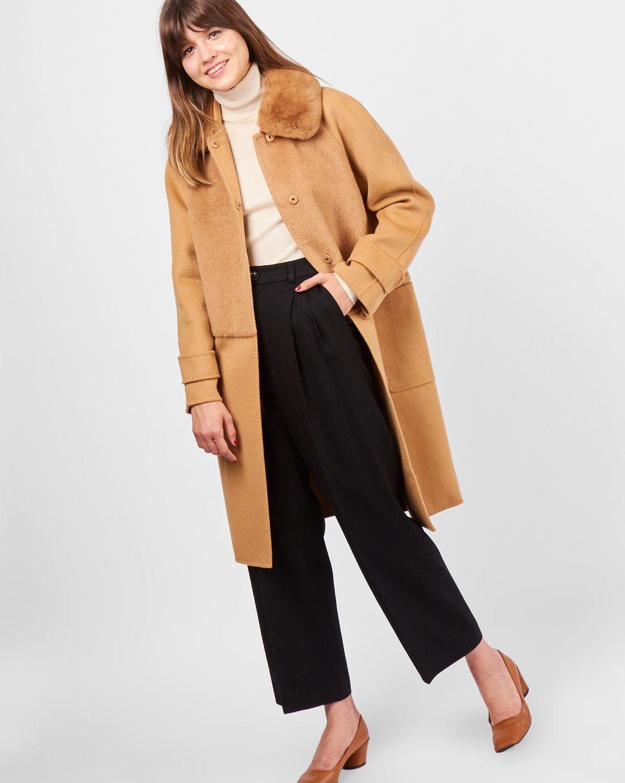 12Storeez Пальто с меховым воротником (кэмел)