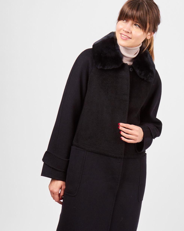 12Storeez Пальто с меховым воротником (черное)