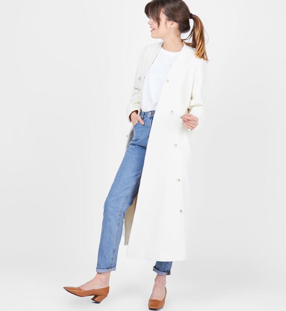 12Storeez Пальто объемное на пуговицах (молочное)