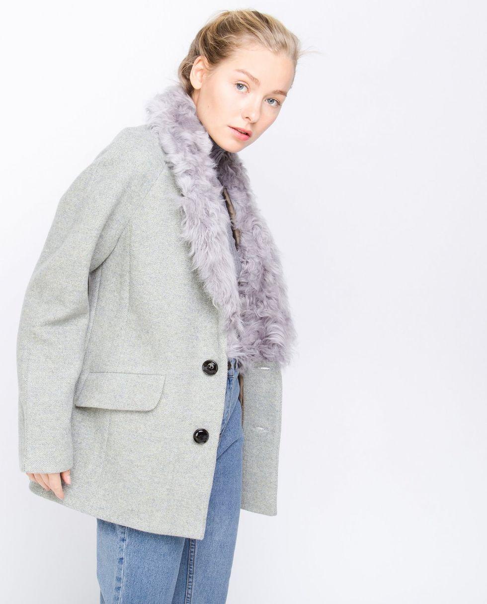 12Storeez Пальто-пиджак с меховым воротником из каракуля (серый)