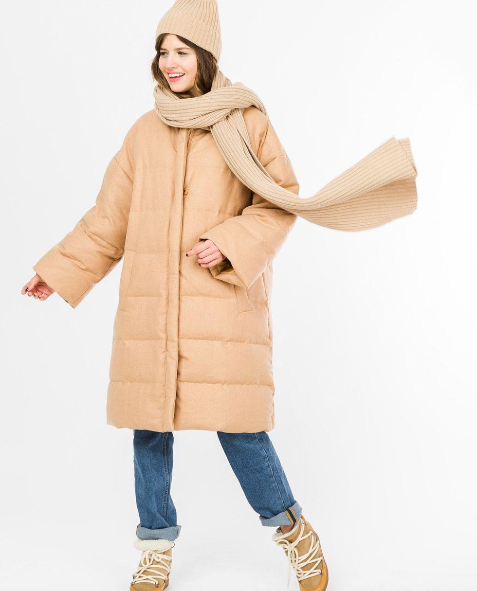 Пальто стеганое из шерсти (кэмел)