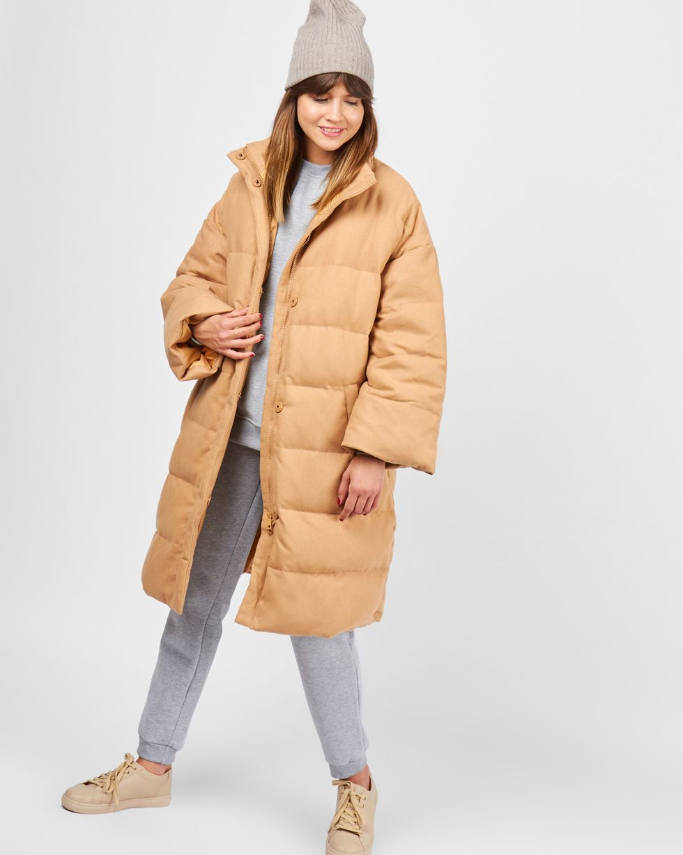 12Storeez Пальто стеганое из шерсти (кэмел)