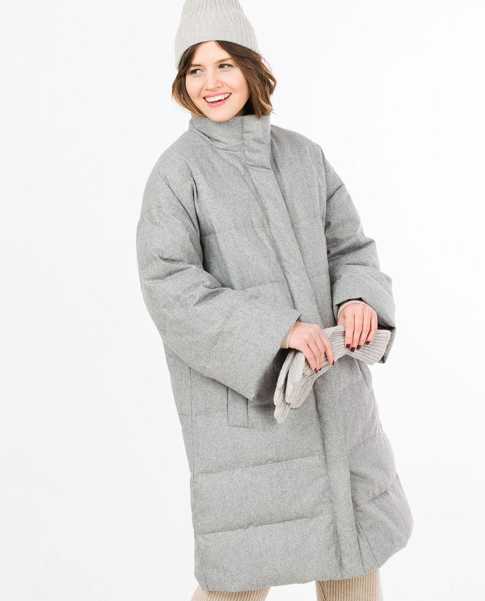 Пальто стеганое из шерсти (серое)