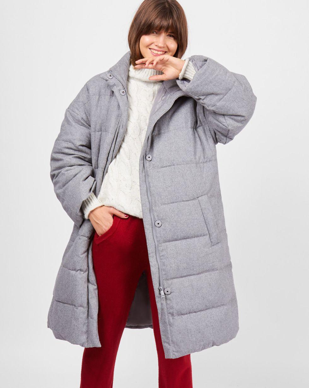 12Storeez Пальто стеганое из шерсти (серое)