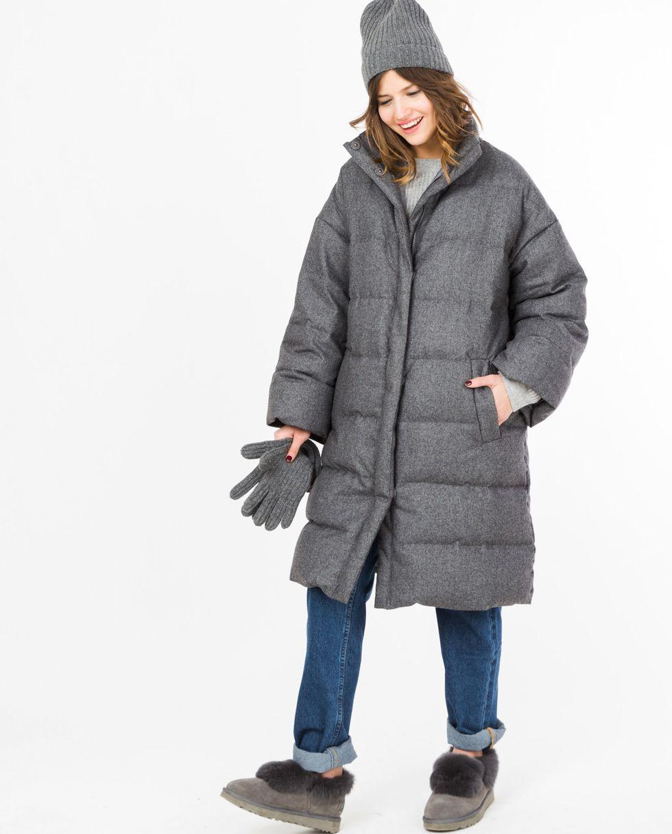 Пальто стеганое из шерсти (темно-серое)