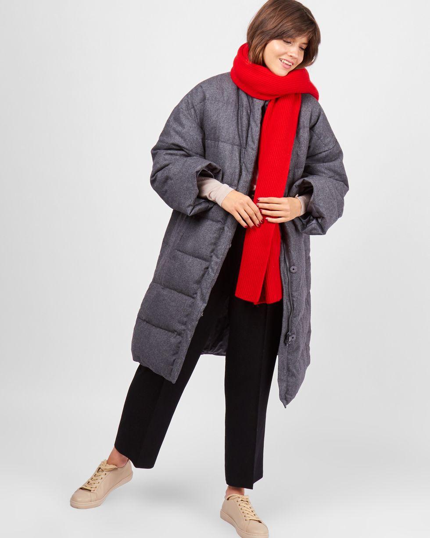12Storeez Пальто стеганое из шерсти (темно-серое)