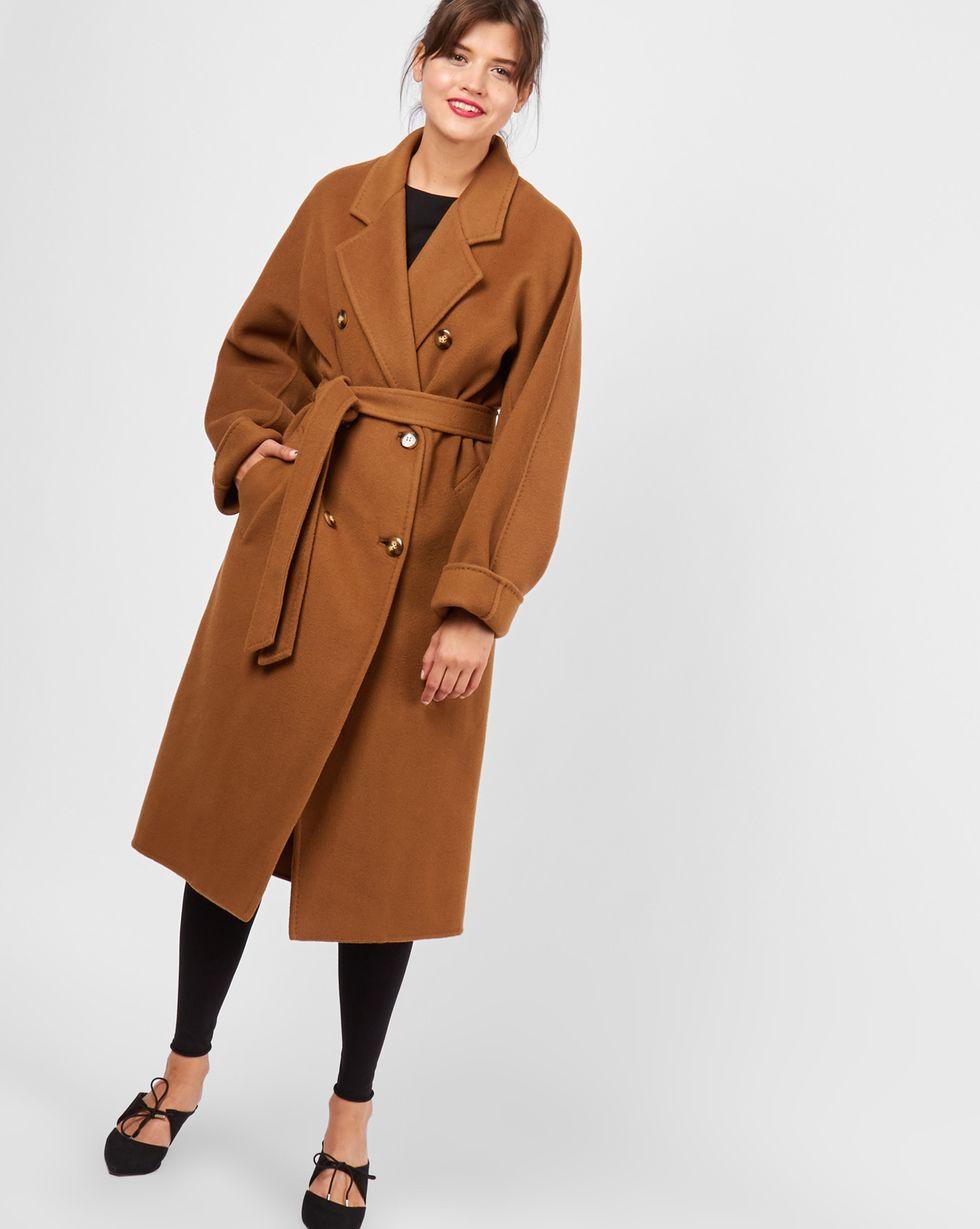 12Storeez Пальто двубортное на поясе (темно-горчичное) пальто