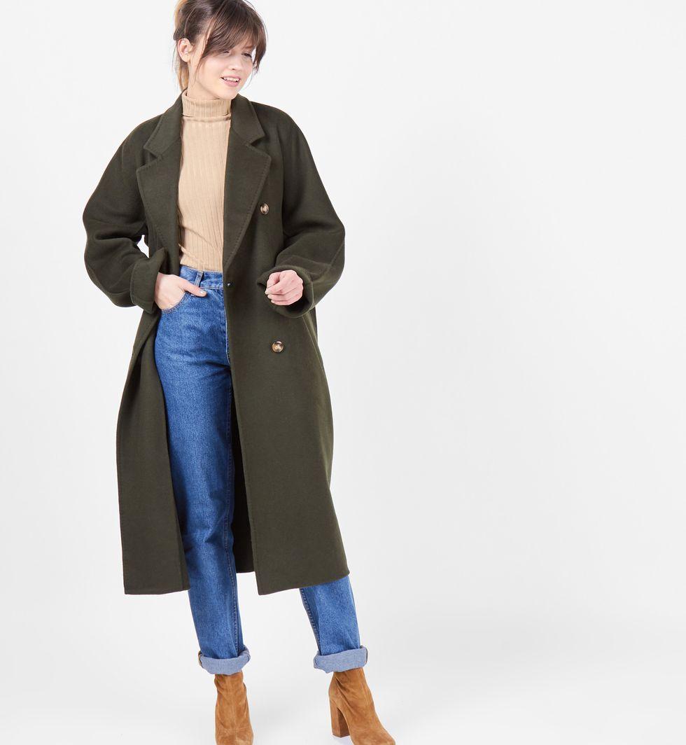 Пальто двубортное на поясе (темно-зеленое)
