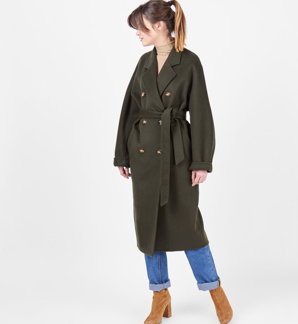 12Storeez Пальто двубортное на поясе (темно-зеленое)