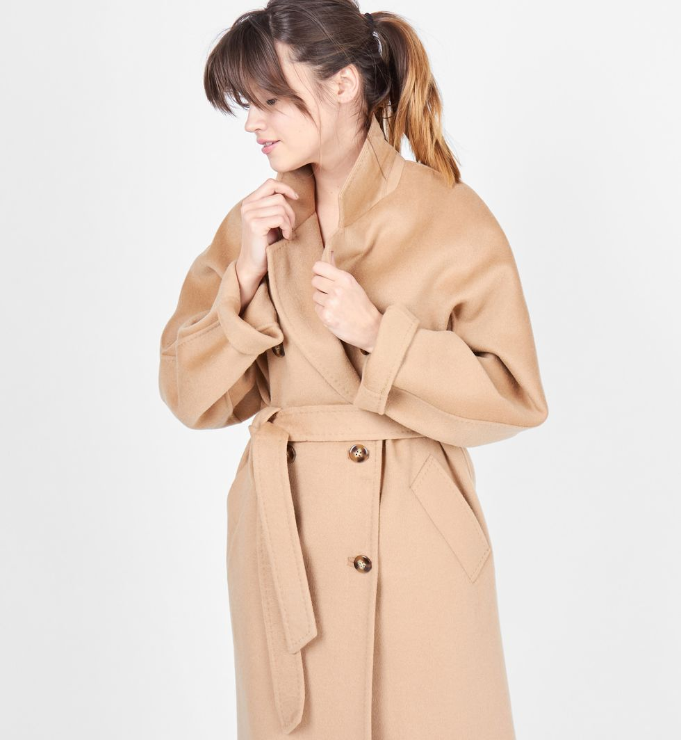 12Storeez Пальто двубортное на поясе (кэмел) 2017 12storeez пальто двубортное на поясе гусиная лапка серый