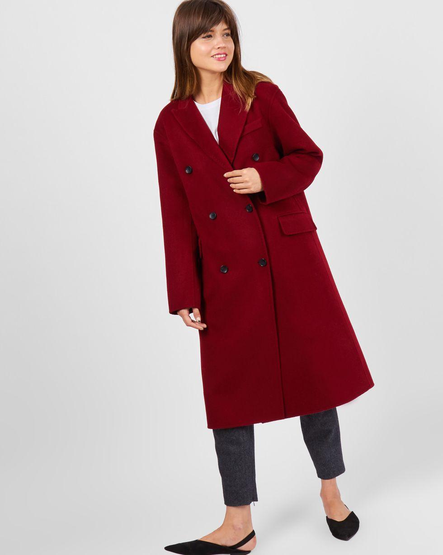 цены 12Storeez Пальто двубортное со шлицей (бордовое)
