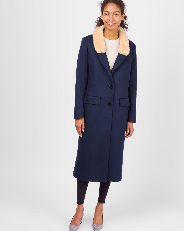 Пальто со съемным меховым воротником MВерхняя одежда<br><br><br>Артикул: 7998027<br>Размер: M<br>Цвет: Синий<br>Новинка: НЕТ<br>Наименование en: Fur trim wool coat