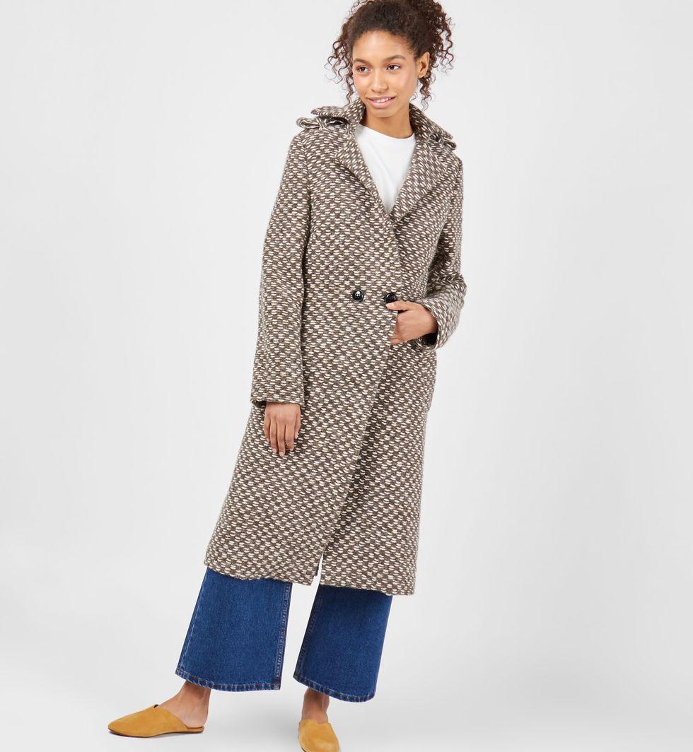 Пальто из трикотажа (коричневое)