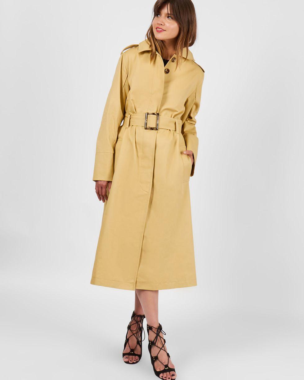 Тренч удлиненный на поясе SВерхняя одежда<br><br><br>Артикул: 7999461<br>Размер: S<br>Цвет: Песочный<br>Новинка: НЕТ<br>Наименование en: Belted trench coat