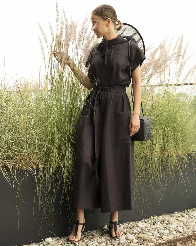 12Storeez Свободный комбинезон изо льна (черный) брюки из лиоцелла и льна