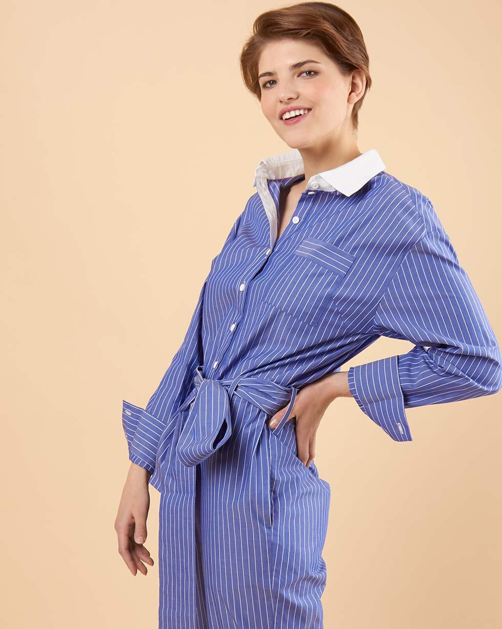 12Storeez Комбинезон с контрастным воротником (темно-синий в полоску) yuzhe studios черная рубашка с контрастным карманом rushmore