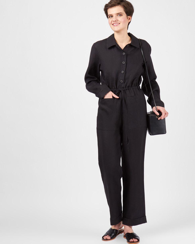 12Storeez Комбинезон изо льна (черный) 12storeez костюм топ с длинными рукавами и удлиненные шорты изо льна черный