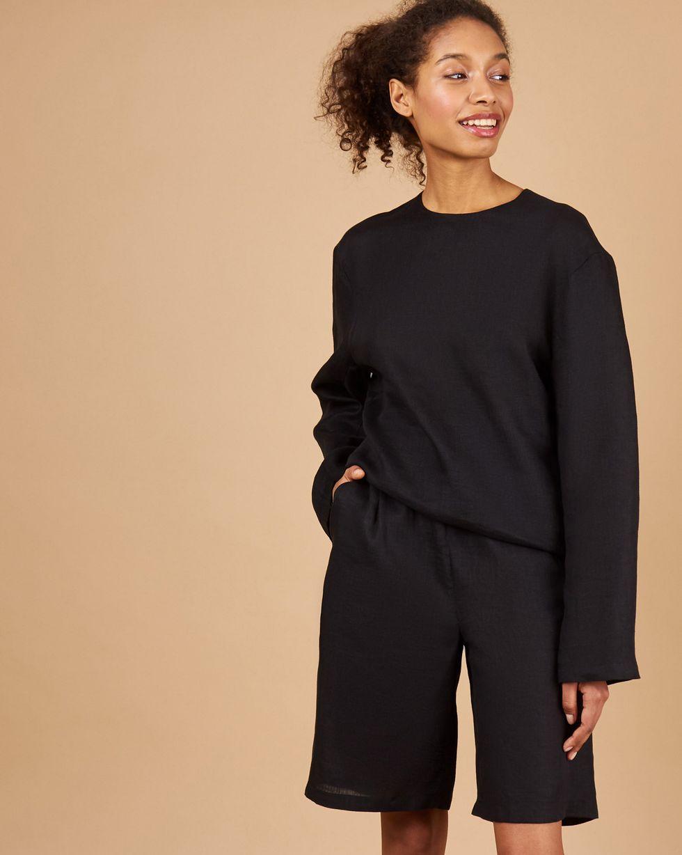 12Storeez Костюм: топ с длинными рукавами и удлиненные шорты изо льна (черный) 12storeez костюм топ с длинными рукавами и удлиненные шорты изо льна черный