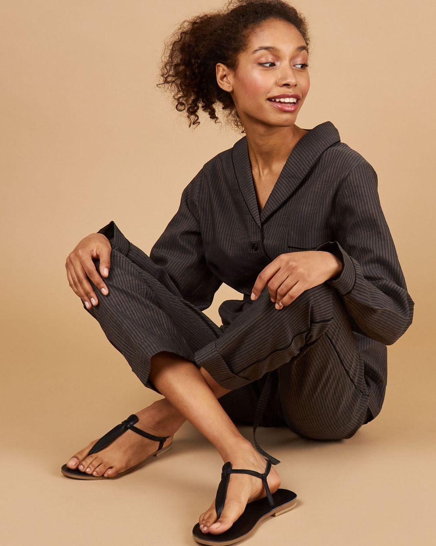 Фото - 12Storeez Комплект: Рубашка с брюками изо льна (коричнево-черная полоска) 12storeez комплект рубашка с брюками изо льна коричневый