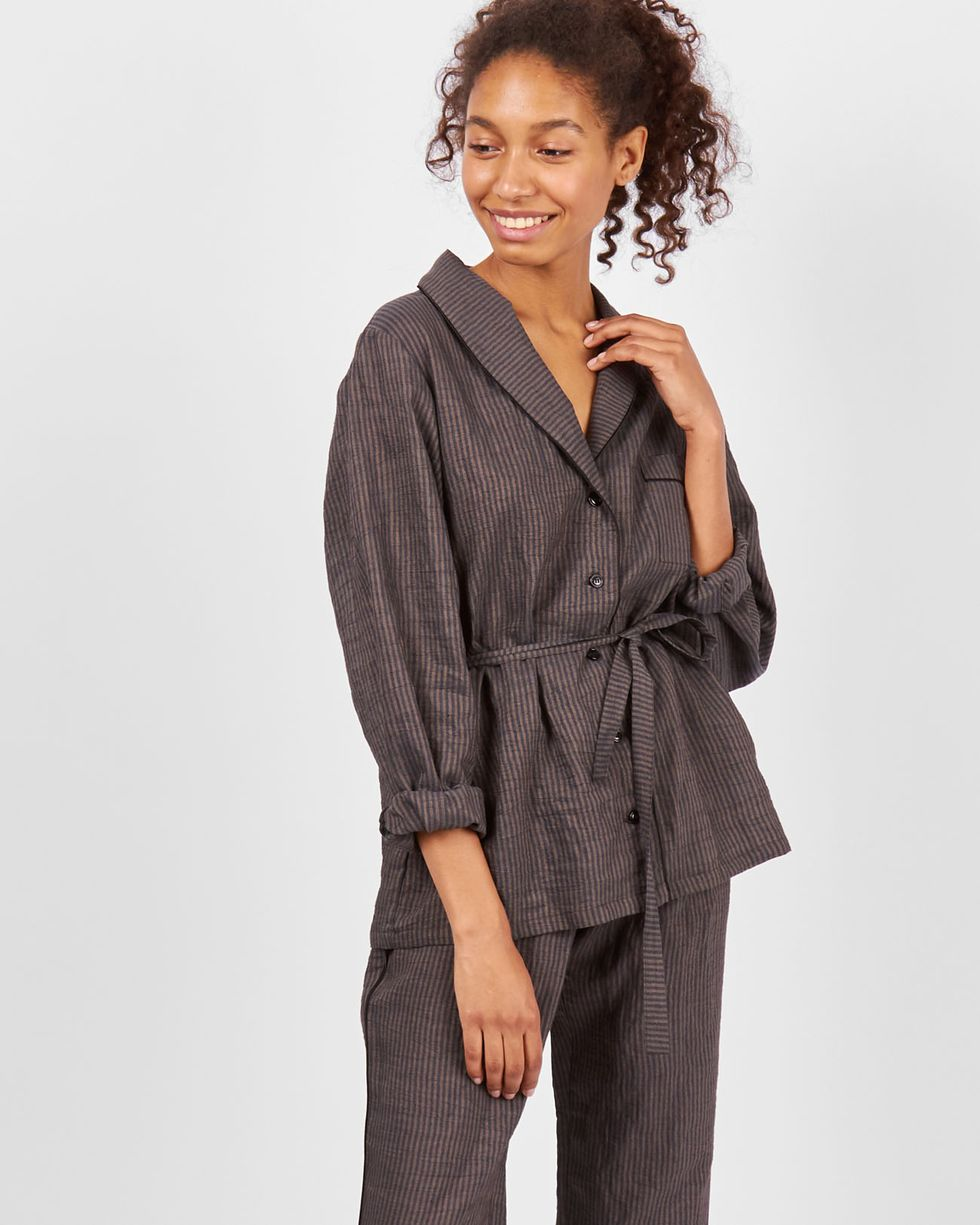 12Storeez Комплект: рубашка с брюками в полоску (коричневый) 12storeez комплект рубашка с брюками в полоску синий