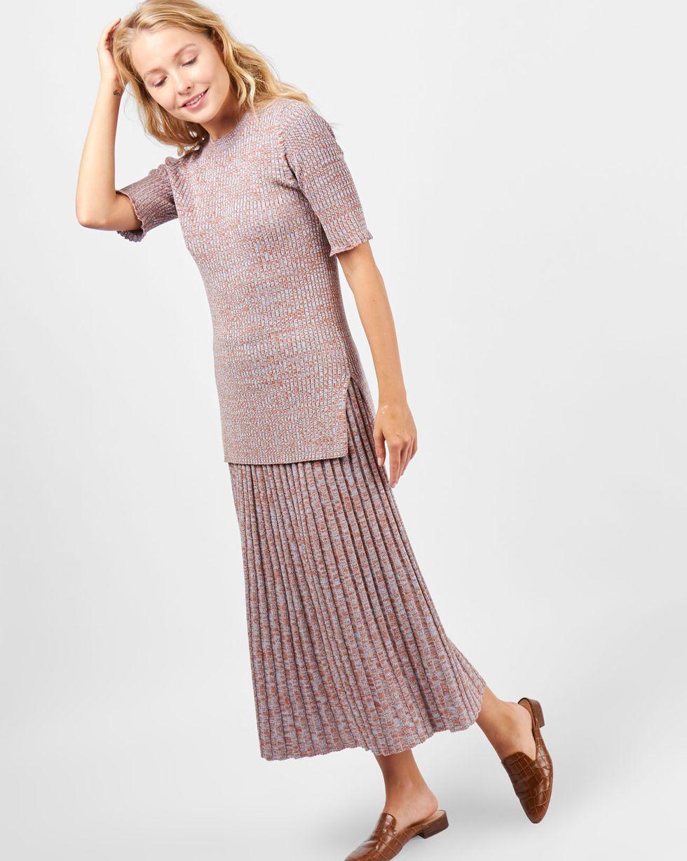 12Storeez Костюм: свитер с короткими рукавами и юбка миди в рубчик (меланж коричневый/голубой) цена