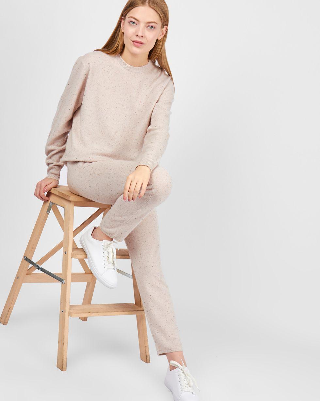 12Storeez Костюм: свитер и брюки на завязках (меланж молочный)