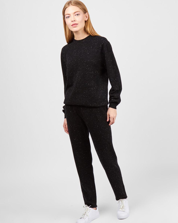 Костюм: свитер и брюки на завязках MКомплекты<br><br><br>Артикул: 7011104<br>Размер: M<br>Цвет: Меланж черный<br>Новинка: НЕТ<br>Наименование en: Crew neck sweater and trousers co-ord set