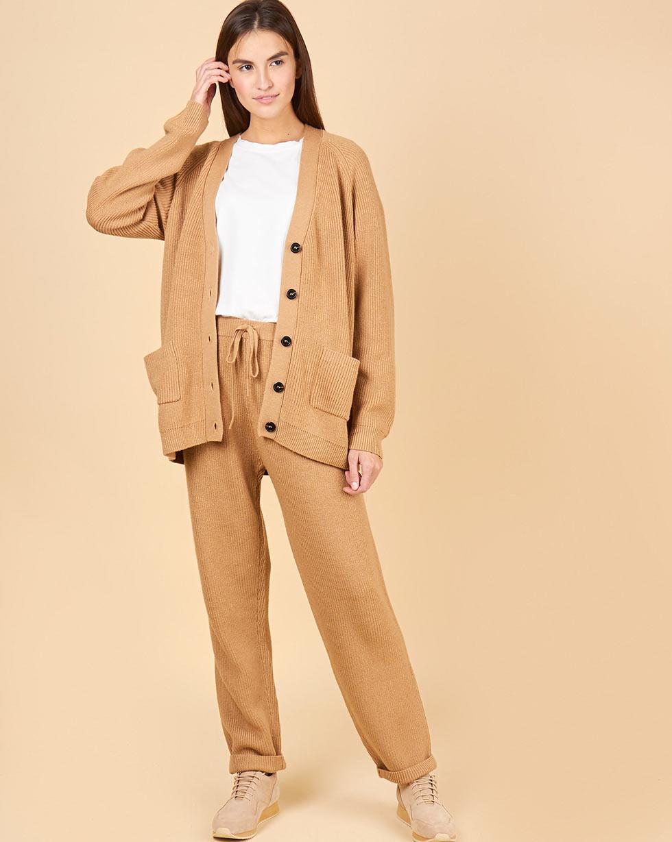 12Storeez Костюм из шерсти:кардиган и брюки крупной вязки (кэмел)