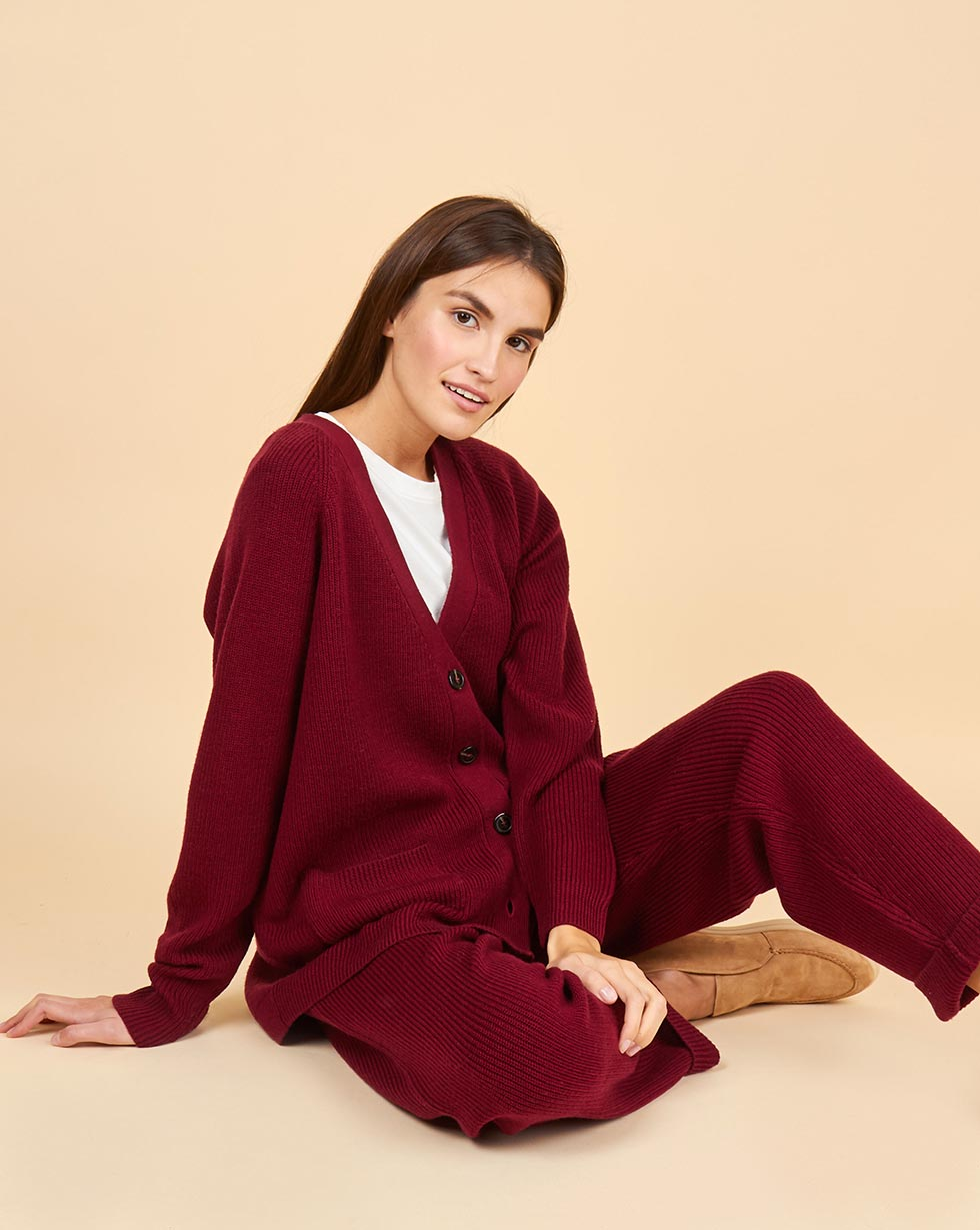 12Storeez Костюм из шерсти: кардиган и брюки крупной вязки (бордовый)