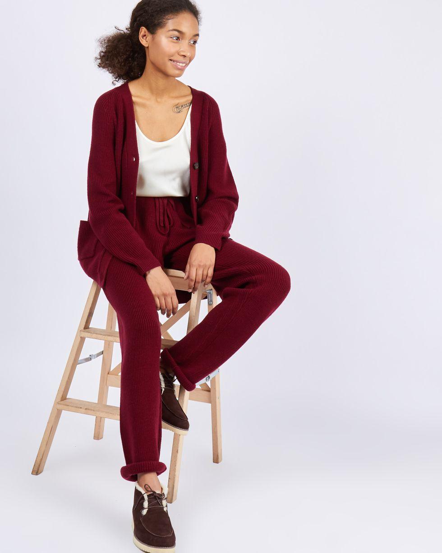 12Storeez Костюм: кардиган и брюки крупной вязки (бордовый) бордовый кардиган