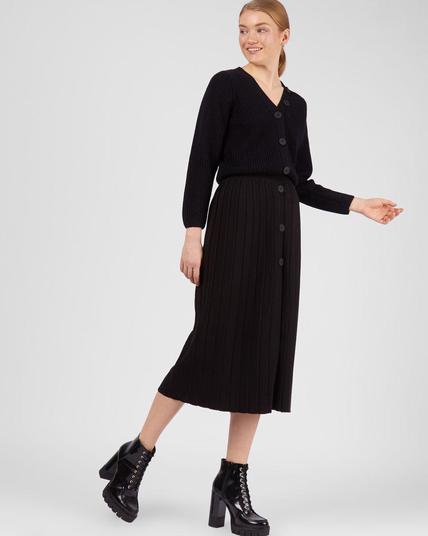 12Storeez Комплект: кардиган и плиссированная юбка (черный/черный) кардиган из хлопка вискозы