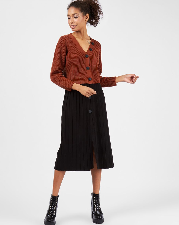 12Storeez Комплект кардиган укороченный и юбка плиссированная на пуговицах коричневыйчерный