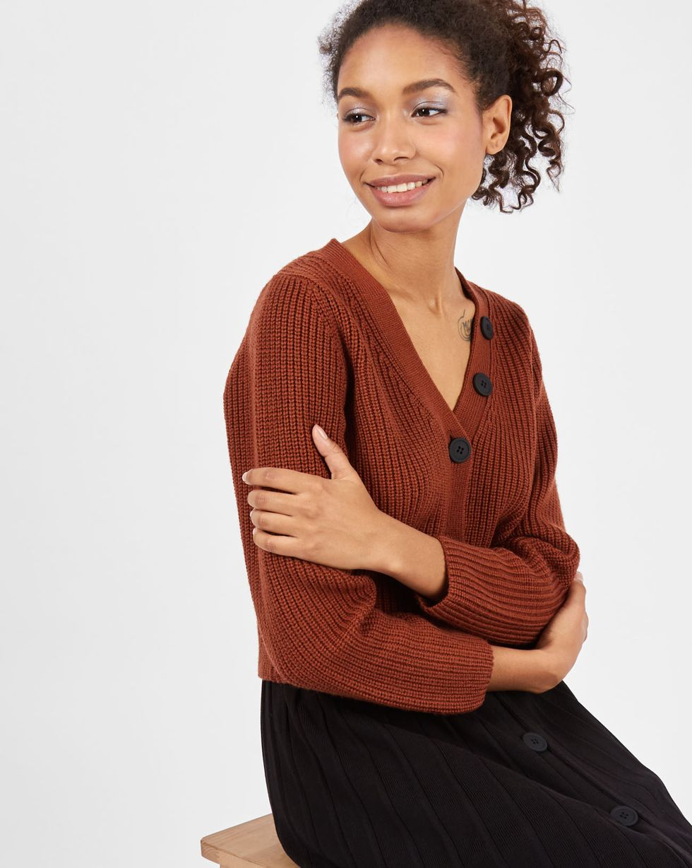 12Storeez Комплект: кардиган и плиссированная юбка  (коричневый/черный) кардиган isaia коричневый