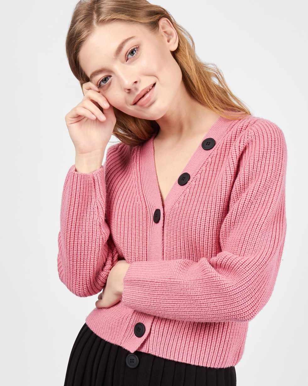 12Storeez Комплект: кардиган и плиссированная юбка (розовый/черный) pregnant women shirt long sleeve 2018 autumn new fashion cotton linen plaid maternity dress shirt loose large size blouse