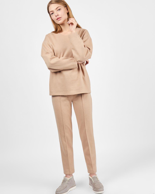 12Storeez Комплект: Свитер и брюки укороченные из трикотажа (бежевый) весной 2017 корейской версии sustory женщин случайных спортивный костюм женский свитер брюки темперамент был тонкий кусок бежевый s su087