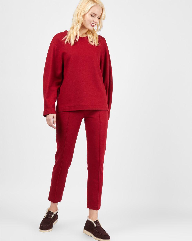 12Storeez Комплект: Свитер и брюки укороченные из трикотажа (бордовый)
