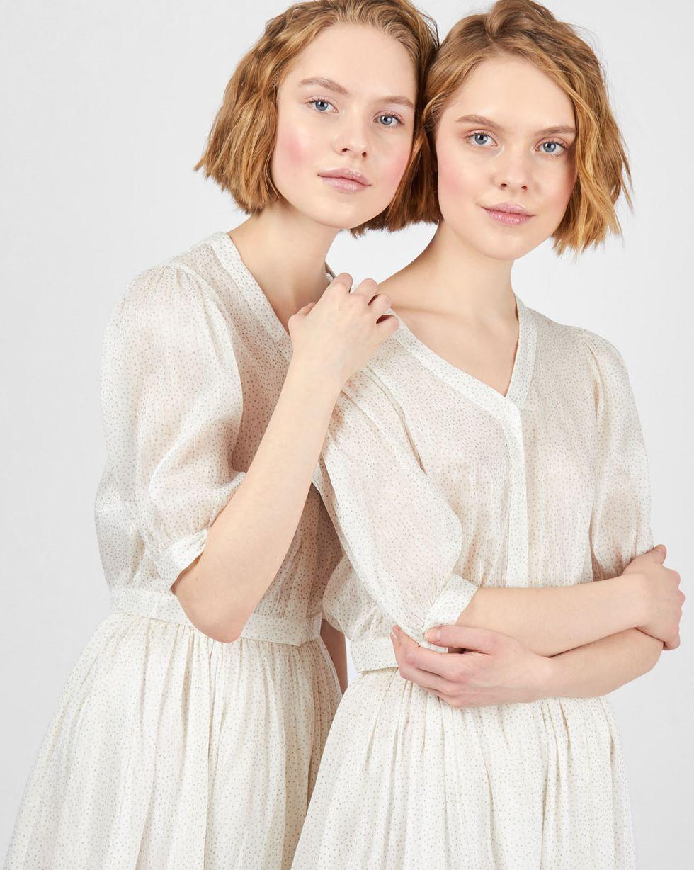 12Storeez Комплект: Топ и юбка миди с блестками (белый)