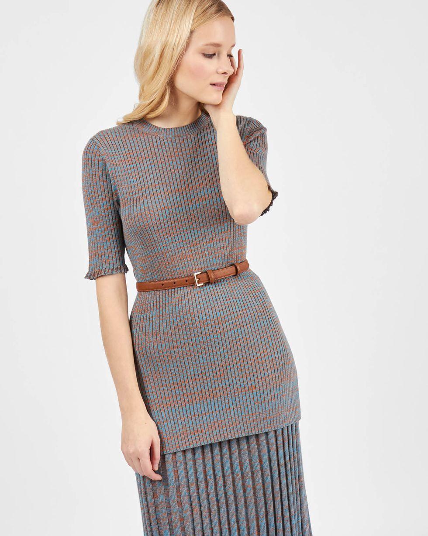 12Storeez Костюм: джемпер с юбкой (меланж коричневый/бирюзовый) 12storeez комплект кардиган и плиссированная юбка коричневый черный