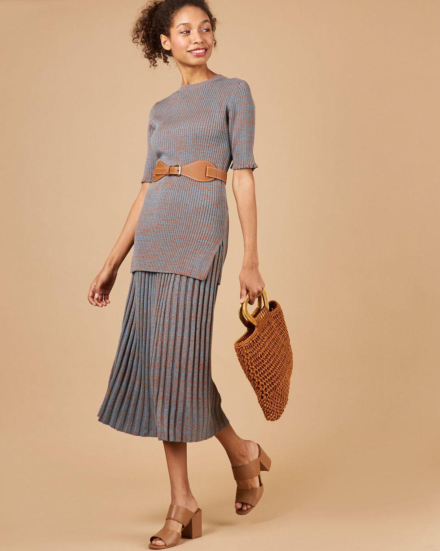 12Storeez Костюм: свитер с короткими рукавами и юбка миди в рубчик (меланж коричневый/бирюзовый) 12storeez юбка миди из плотного хлопка в цветок синяя