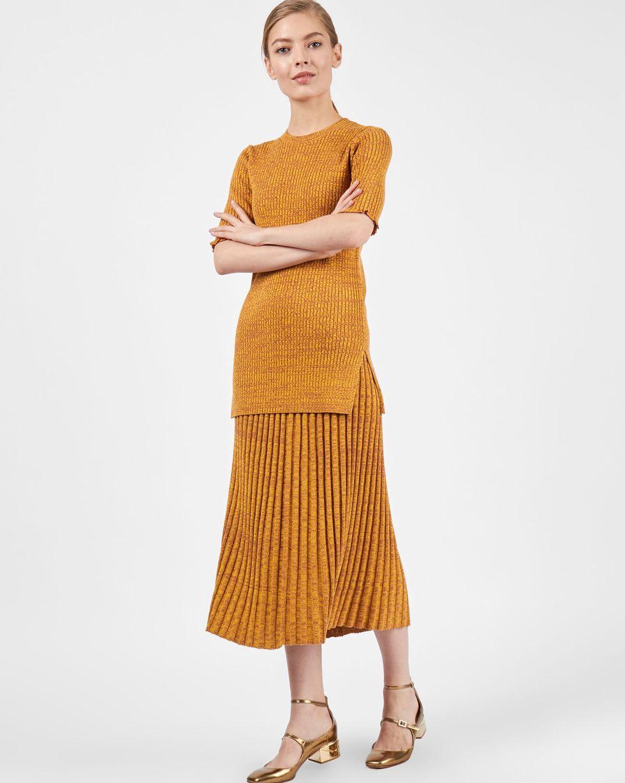 12Storeez Костюм: джемпер с юбкой (меланж коричневый/желтый) 12storeez комплект кардиган и плиссированная юбка коричневый черный