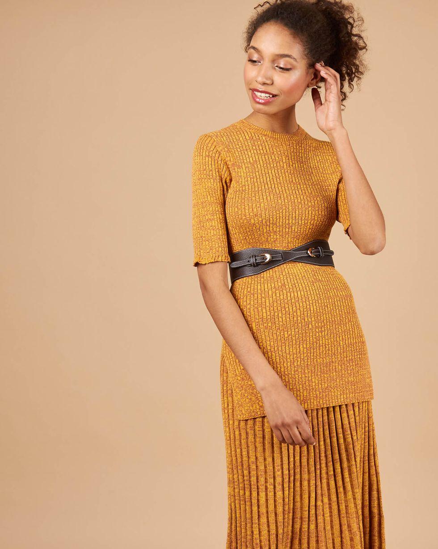 12Storeez Костюм: свитер с короткими рукавами и юбка миди в рубчик (меланж красный/желтый) цена 2017