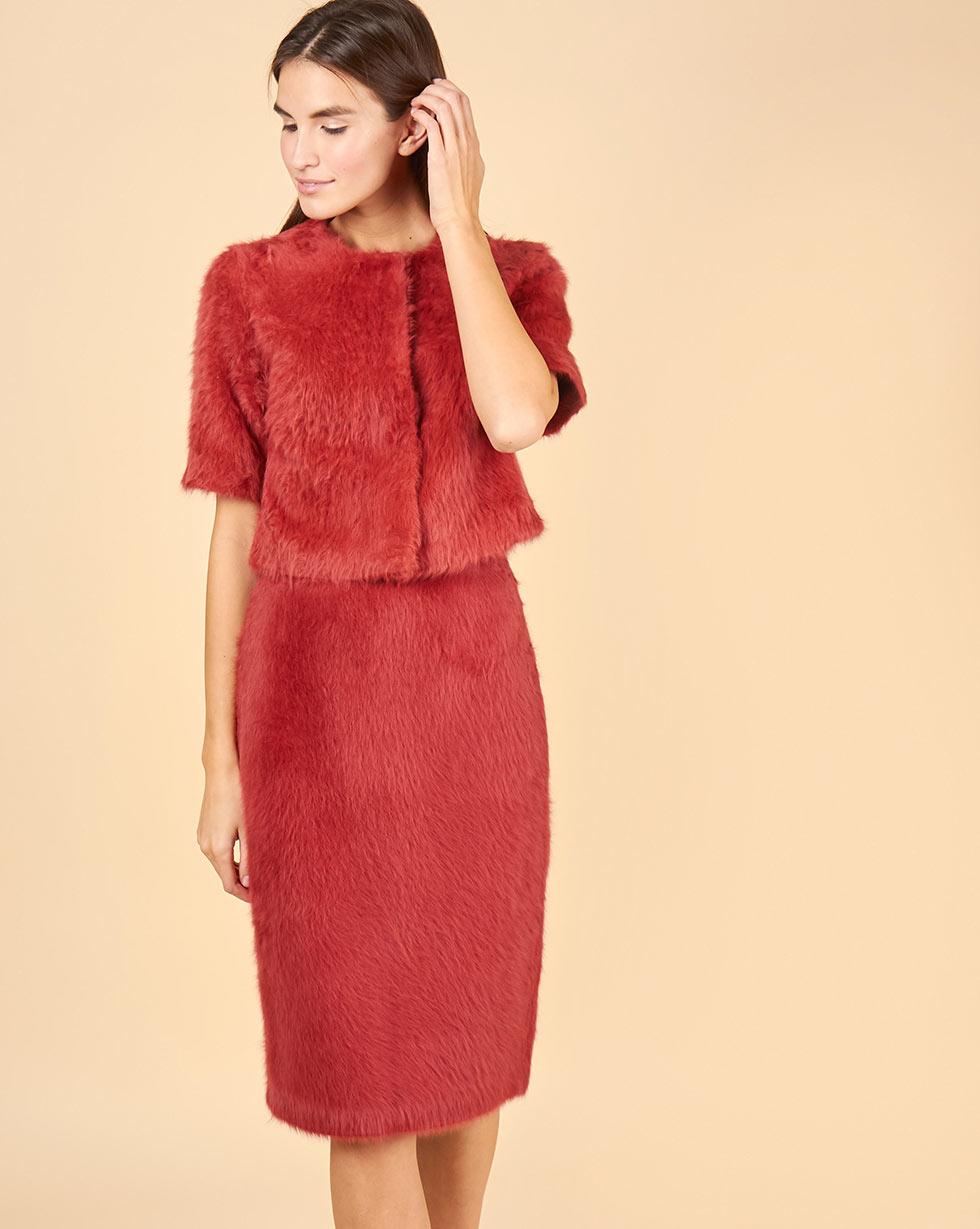12Storeez Комплект: Топ укороченный и юбка миди из ангоры (бордовый)
