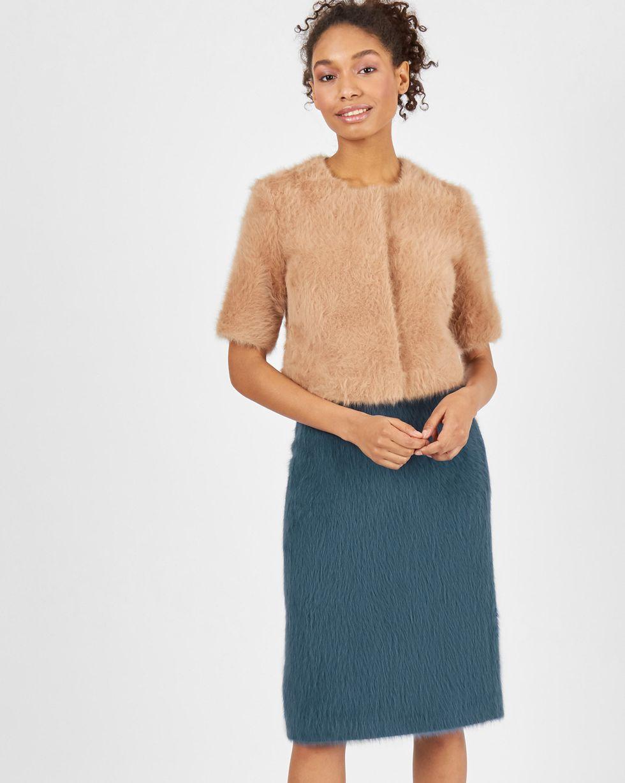 12Storeez Комплект: Топ и юбка из ангоры (сине-бежевый)