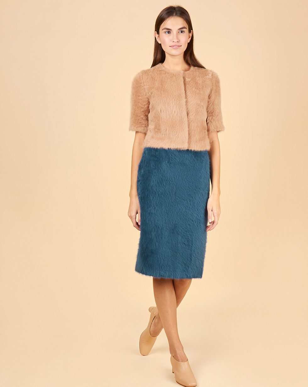 12Storeez Комплект: Топ укороченный и юбка миди из ангоры (сине-бежевый)