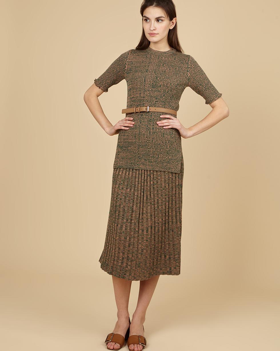 12Storeez Костюм: свитер с короткими рукавами и юбка миди в рубчик (меланж зеленый/коричневый) цена и фото