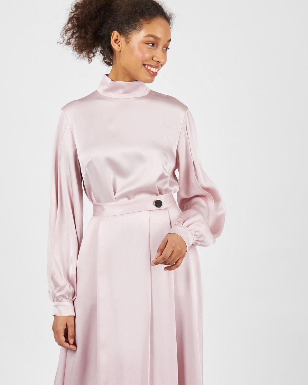 12Storeez Комплект: Блуза с разрезами и юбка макси (розовый) юбка с запахом на пуговицах