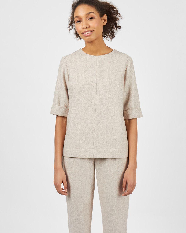 Комплект: Топ с коротким рукавом и брюки XSКомплекты<br><br><br>Артикул: 7013242<br>Размер: XS<br>Цвет: Кофейный<br>Новинка: НЕТ<br>Наименование en: Short sleeve top &amp; trousers two-piece set